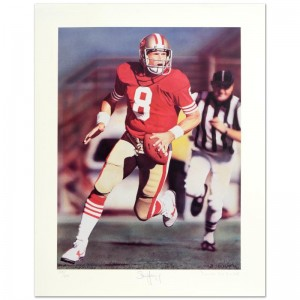 """Daniel M. Smith - """"Run & Shoot (Steve Young)"""" Limited Edition Lithograph Dated (1992)"""