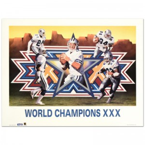 """Daniel M. Smith - """"World Champion XXX (Cowboys)"""" Limited Edition Lithograph Dated (1996)"""