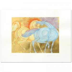 """Guillaume Azoulay - """"Tryst"""" Limited Edition Hand-Watercolored Etching with Hand Laid Gold Leaf"""