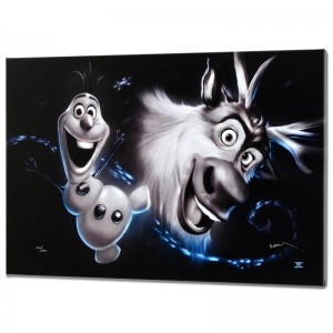 Olaf & Sven Disney Limited Edition Giclee on Canvas from a Sold Out Edition by Noah